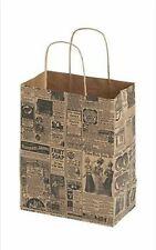 20 News Print News Paper Retail Merchandise Gift Shopping Bags 8 x 4 x 10