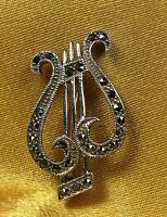 Vintage 925 Sterling Silver Marcasite Stones Brooch/ Pin Fine Jewelry