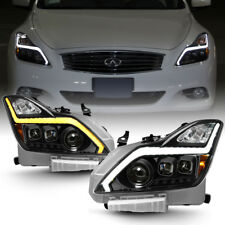 Black LED Switchback Headlights w/ Sequential Signal For 2008-2015 G37 Q60 Coupe