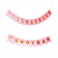 Papier Kraft Candy Bar Just Married Bunting Banner Fête D'Anniversaire Demari FE
