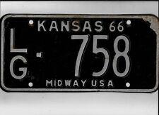 "KANSAS passenger 1966 license plate ""LG-758"" ***LOGAN***"