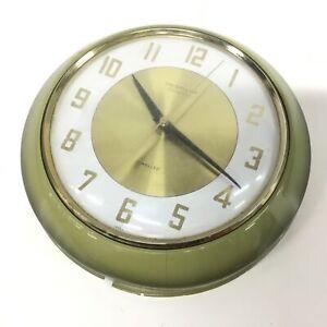 Vintage Westclox Transitor Jewelled Green Round Wall Clock Japan #413