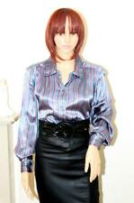 SEXY BLUE & RED STRIPE LIQUID SATIN SECRETARY GOVERNESS BLOUSE SHIRT size 16