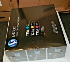 Genuine HP 125A LaserJet Tri-Pack Cyan, Magenta, Yellow Toner Cartridges