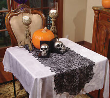 Halloween Lace Spider Round Web Tablecloth Fireplace Table Cover Decoration