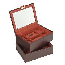 Stacker Para Hombre Set De 2 Casual 16PC De Vidrio Con Tapa Naranja Reloj Caja