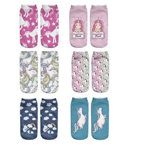 6Pairs Zohra 3D Digital Print Socks For Women With Light Top Adult Socks Unicorn