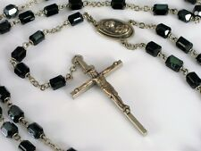 ANTIQUE FINE GLASS BEAD ROSARY JESUS CHRIST PENDANT ON CROSS NECKLACE RELIGIOUS