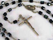 ANTIQUE FINE GLASS BEAD ROSARY JESUS CHRIST PENDANT ON CROSS NECKLACE RELIGIOUS