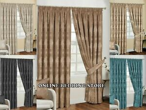 Fully Lined Pencil Pleat Luxury Jacquard Ready-Made Virginia Curtain (Pair)