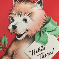 Vintage Early Mid Century Christmas Greeting Card Cute Puppy Dog Die Cut Ribbon