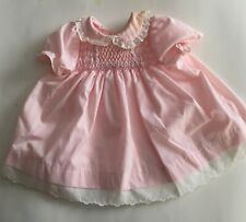 POLLY FLINDERS Pink SMOCKED BABY Dress Size 0-3 MOS Made in USA