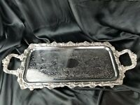 """Antique Long 26""""x11"""" rectangle SilverPlate Butlers Serving Platter Tray ORNATE"""