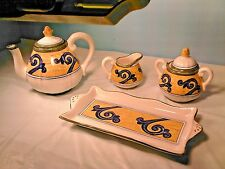 IRRESTIBLE DERUTA ITALY SIGNED 4 PIECE TEA SET, A MANO NEW CONDITION