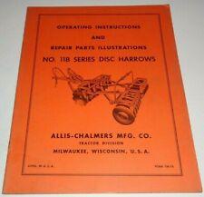 Allis Chalmers 11b Series Disc Harrow Operators Parts Manual Original Tm 76