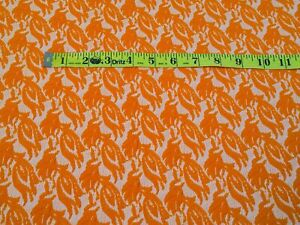 vintage double knit fabric ORANGE TEXTURED floral material 60s 70s Halloween new