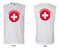 Gildan White Sleeveless Cotton Lifeguard T-Shirt, Life Guard shirt,  (W2700LG)