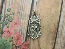Vintage Catholic Medal St. Christopher & Sacred Heart of Jesus protection