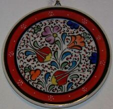 "Red Bordered Turkish Handmade 4"" (10cm) Ceramic Iznik Tulip Pattern Wall Plate"