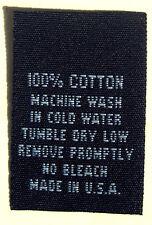 100 pcs WOVEN CLOTHING LABELS, CARE LABEL BLACK - 100% COTTON