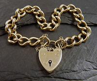 "Antique Victorian 9ct Gold Curb Charm Bracelet Heart Padlock - Heavy 34g -  8"""