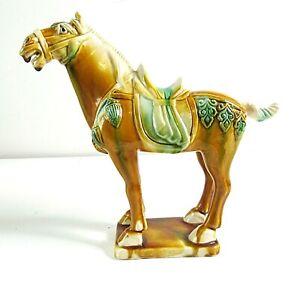 "Vintage Chinese Tang Dynasty Style Sancai Tri-Glaze Horse Sculpture 9"" Tallx8""W"