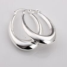 Boucles d'oreilles en argent sterling 925, créoles ovales bombées, neuves