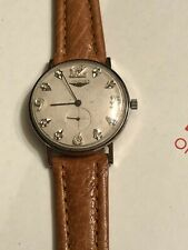 VINTAGE LONGINES 14K SOLID WHITE GOLD 33 mm W/DIAMONDS MANUAL WIND MEN'S WATCH