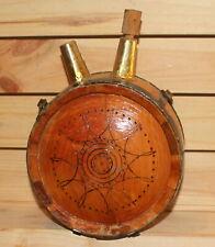 Vintage folk hand made wood wine/brandy keg flask
