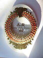 ANNA DELLO RUSSO X H&M GOLD ORANGE PEARL & DIAMANTE NECKLACE CHUNKY WITH BOX