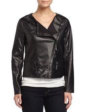 Asymetric Zip Max Studio Women's Size Medium Faux Leather Jacket Black NWT $138