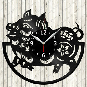 Pig Vinyl Record Wall Clock Decor Handmade 6619