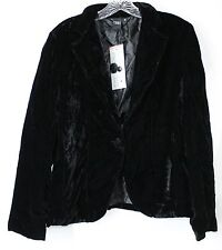 NWT IPSE Women's Medium Black Velvet LS Lined One Button Front Dressy Jacket