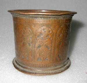 1830's Antique Old Copper Hand Carved Vishnu Dash Avtar Figured Holy Water Pot
