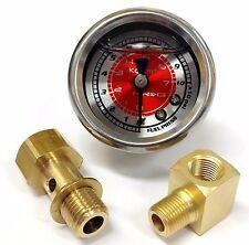 NRG Fuel Pressure Regulator Liquid Filled Gauge - Red - Part # FRG-100R