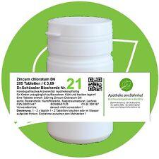 Schüßler-Salz Nr.21 Zincum chloratum D6 200 Tabl. PZN 08001447