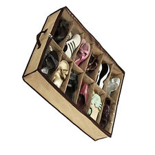 12 Pairs/Grids Transparent Shoes Storage Organiser Space Saving Under Bed ws
