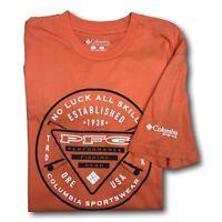 New Columbia mens PFG Graphic fishing short sleeve tee shirt t-shirt Orange