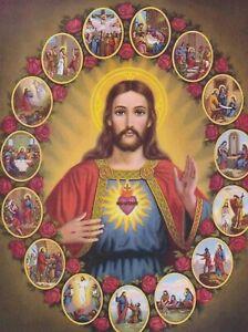 "*Postcard-""Sacred Heart of JESUS""  ...with 15 Mini-Pics around- (J8)"