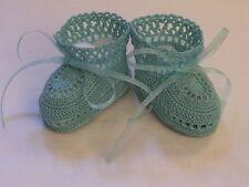Baby Boy or Baby Girl BootiesThread Crochet 0-3 Months Aqua Green Handmade
