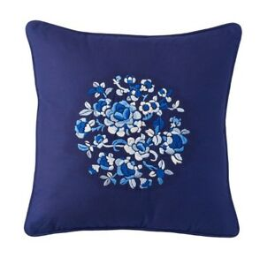 "CHAPS Home MANDARIN GARDEN Pillow Size: 18 x 18"" New SHIP FREE Floral BLUE Throw"