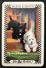 Vintage Swap/Playing Card - ADVERTISING BLACK & WHITE SCOTCH WHISKEY-DOGS - MINT