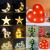 Cute Unicorn Star Moon LED Night Light Wall Lamp Baby Kids Bedroom Home Decor