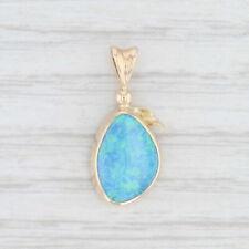 Vibrant Blue Opal Drop Pendant 14k Yellow Gold Solitaire