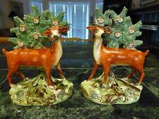 Pair Antique Staffordshire Deer Figurines Bocage