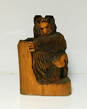 """Hand Carved Wood Bear Sculpture appx 14"""" Tall"""