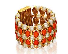 Anna Dello Russo Gold Orange Coral Pearl Chunky Statement Bangle Wide Bracelet