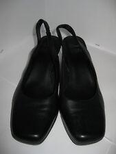 Clarks Cushion Soft Womens Black Leather Wedge Shoes/Sandals Size UK 6.5