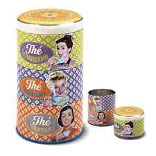 Metal lata de té lata 3 piezas, natives vintage retro Design