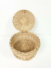 Round Wicker Basket With Lid - Great Condition